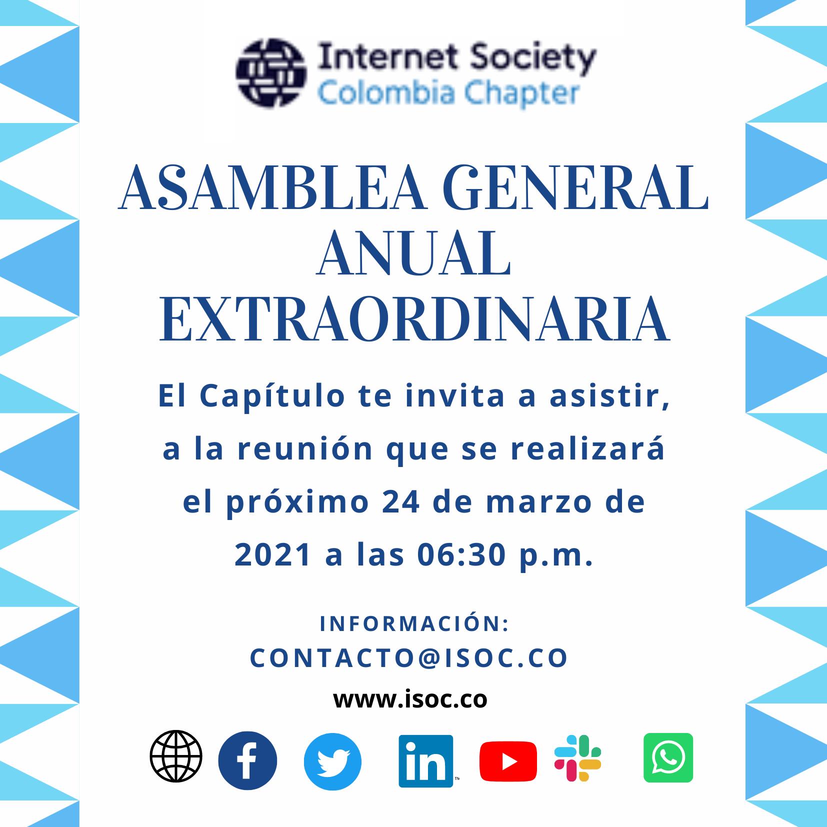 Imagen alusiva a Asamblea General Extraordinaria (2021) de Internet Society Colombia Chapter.