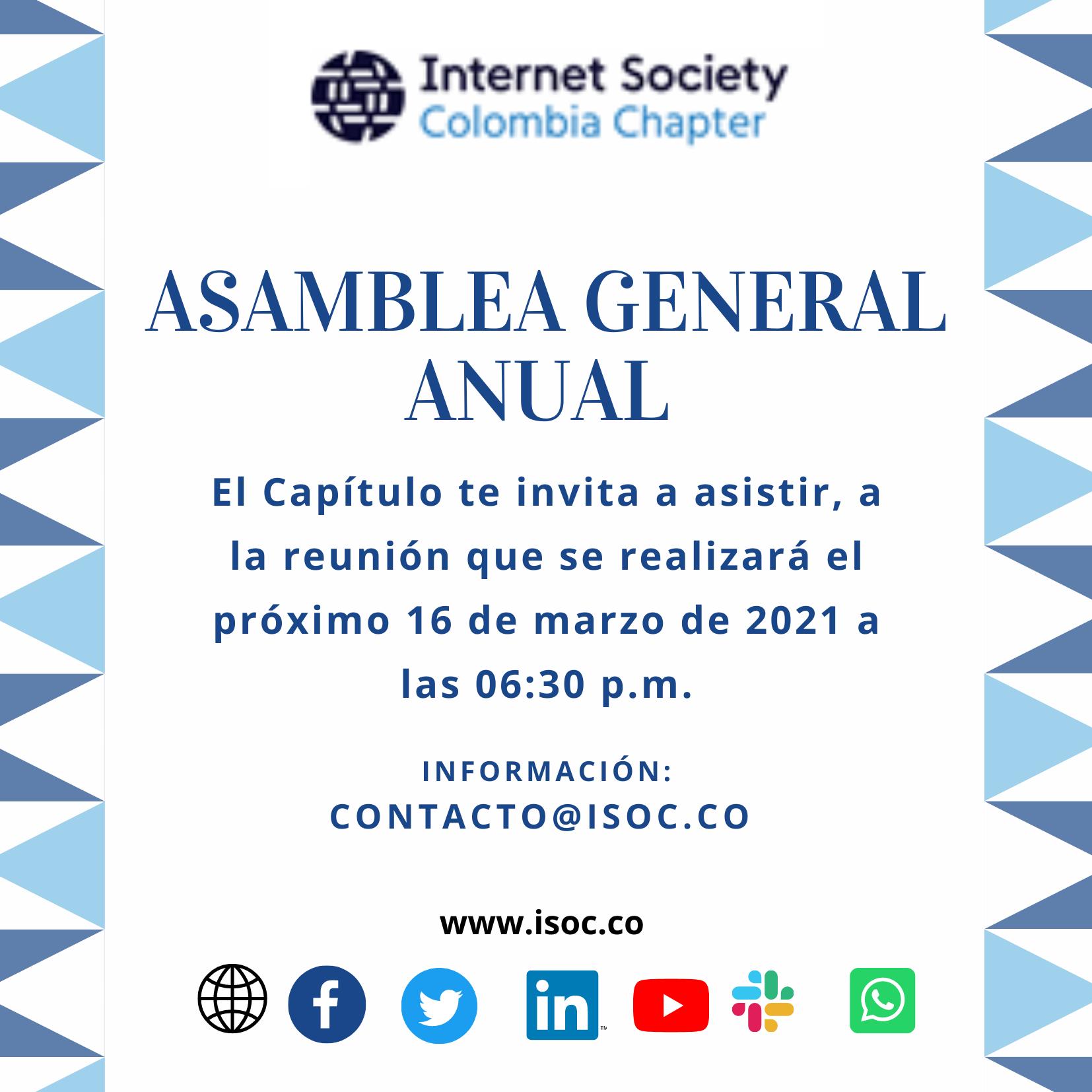 Imagen alusiva a Asamblea General (2021) de Internet Society Colombia Chapter.