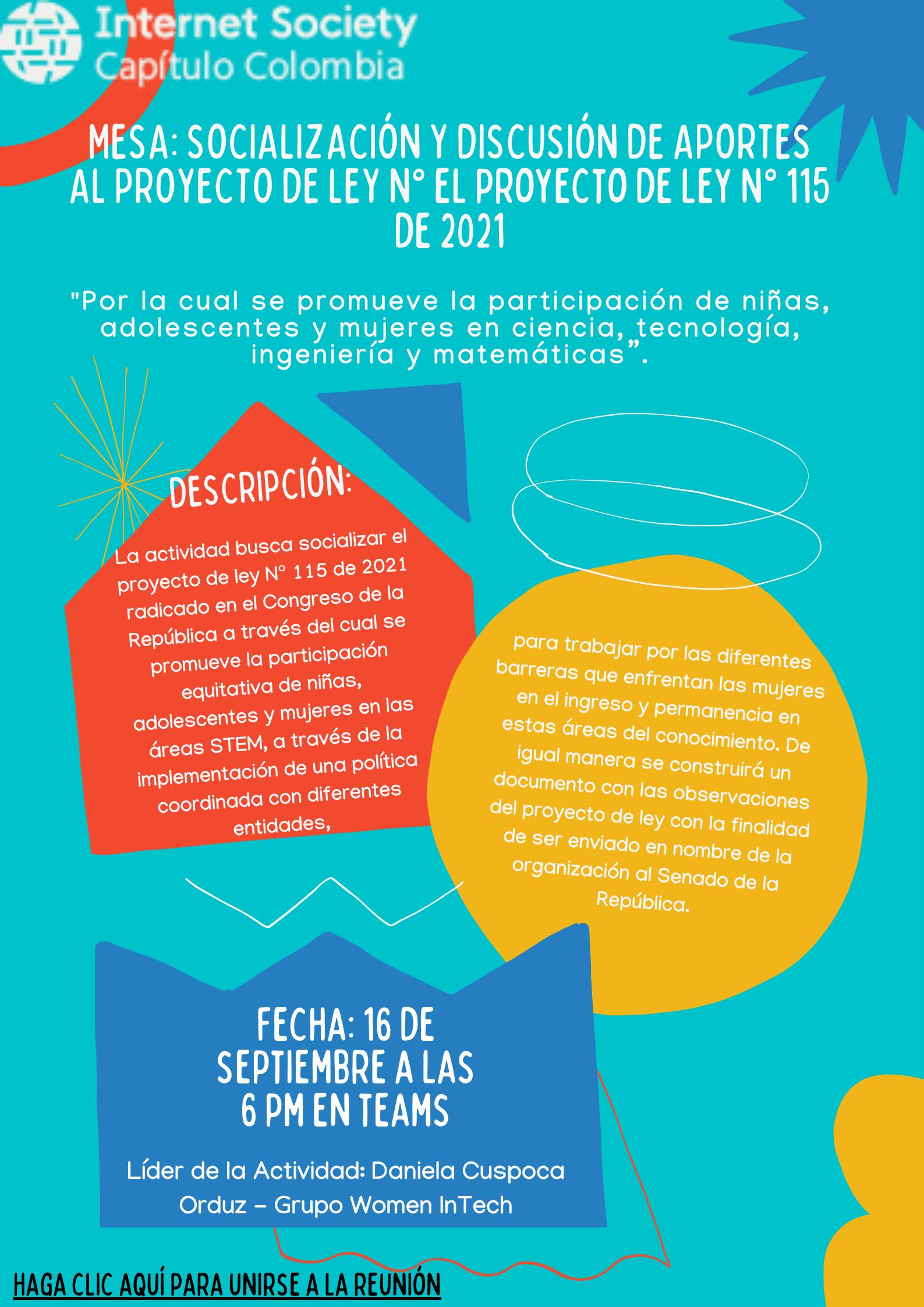 Imagen alusiva a Mesa de trabajo Ley 115-2021 promueve la participación equitativa de niñas, adolescentes y mujeres en las áreas STEM